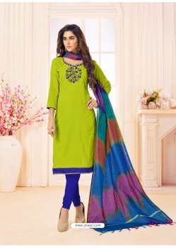 Parrot Green And Blue Slub Cotton Hand Worked Churidar Suit