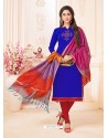 Royal Blue And Red Slub Cotton Hand Worked Churidar Suit