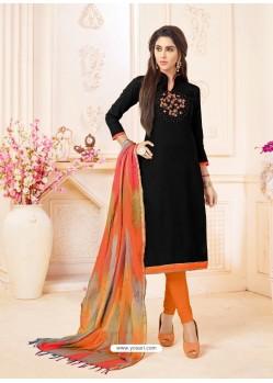 Black And Orange Slub Cotton Hand Worked Churidar Suit