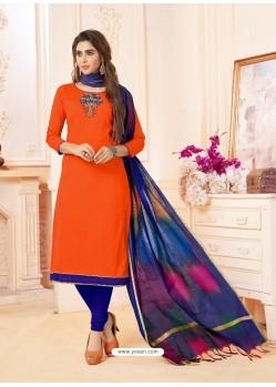 Orange And Royal Blue Slub Cotton Hand Worked Churidar Suit