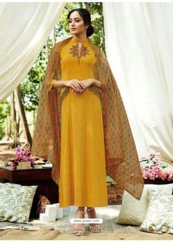 Mustard Rayon Designer Readymade Kurti
