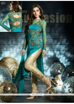 Teal Green Net Designer Pant Style Suit