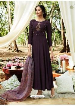 Purple Rayon Designer Readymade Kurti