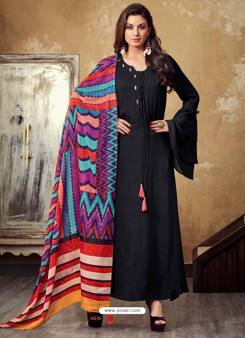 84f3b21a6bf Buy Black Rayon Readymade Designer Long Kurti