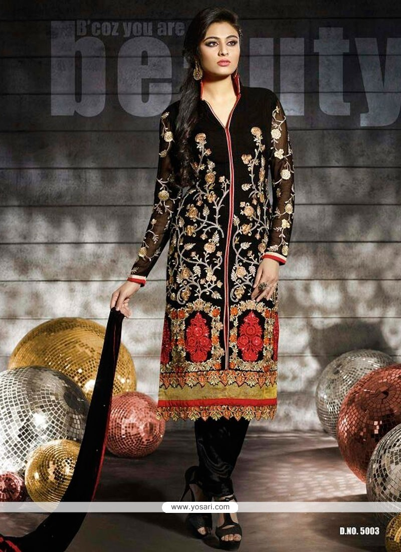 Pristine Black Georgette Churidar Salwar Suit