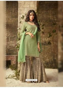 Sea Green Embroidered Georgette Designer Sarara Suit