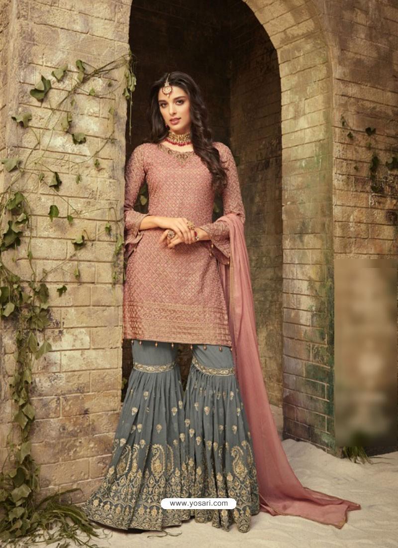 Light Pink Embroidered Georgette Designer Sarara Suit