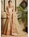 Beige Satin Thread Work Designer Wedding Lehenga Choli