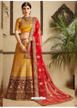 Mustard Satin Thread Work Designer Wedding Lehenga Choli
