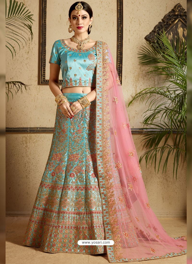 Sky Blue Satin Thread Work Designer Wedding Lehenga Choli