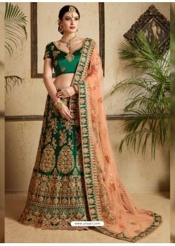 Dark Green Satin Thread Work Designer Wedding Lehenga Choli