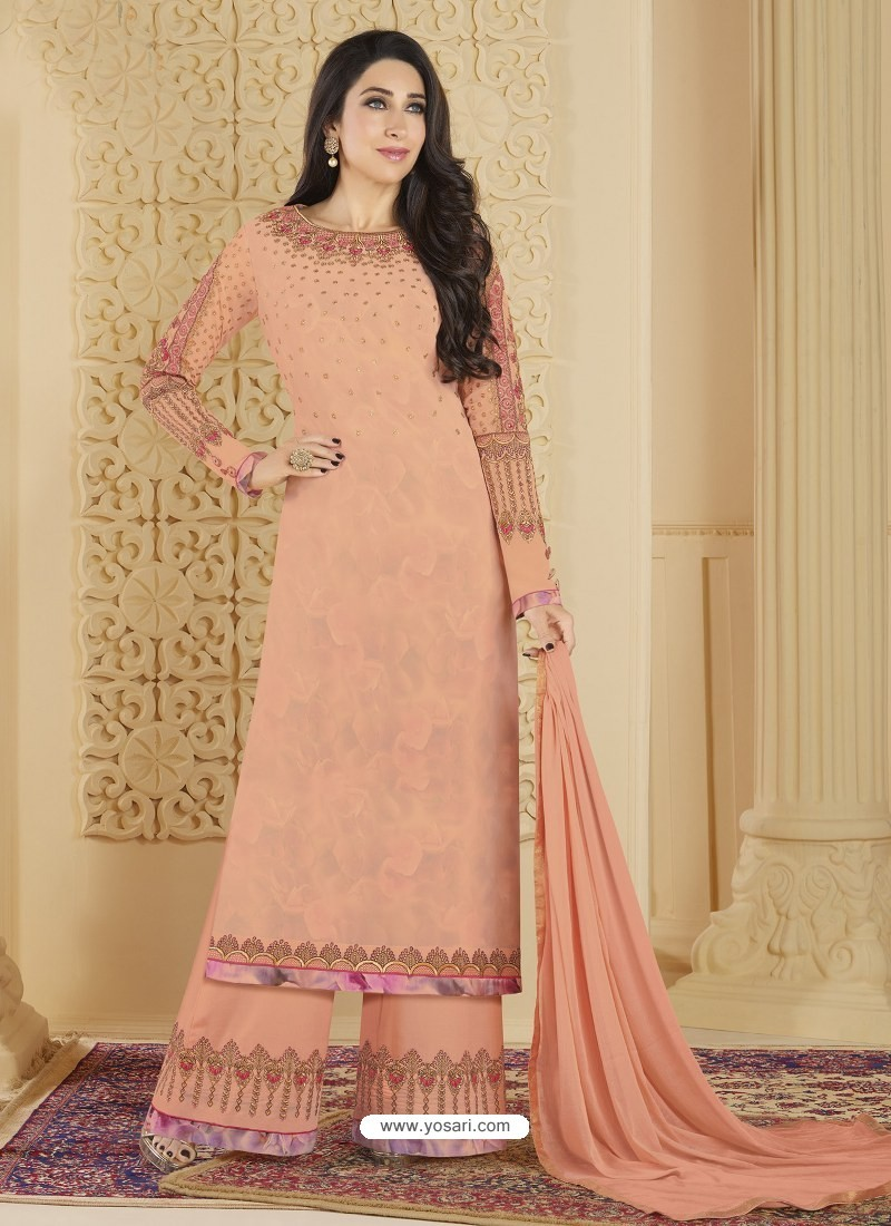 Light Orange Heavy Embroidered Faux Georgette Designer Palazzo Suit