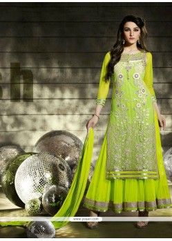 Mint Green Net Designer Anarkali Suit