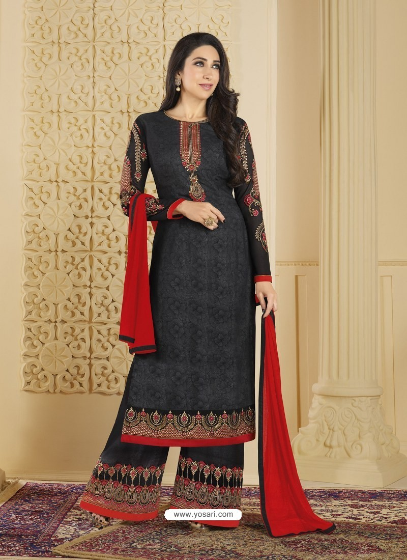 Black Heavy Embroidered Faux Georgette Designer Palazzo Suit