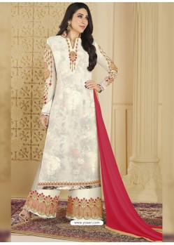 Off White Heavy Embroidered Faux Georgette Designer Palazzo Suit