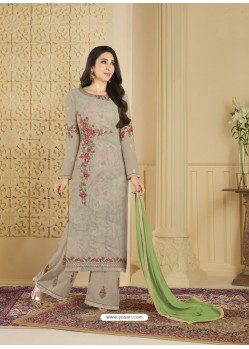 Taupe Heavy Embroidered Faux Georgette Designer Palazzo Suit