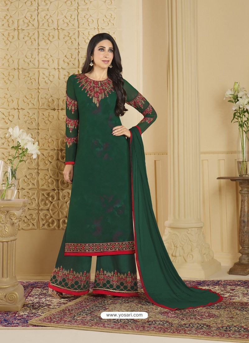 Dark Green Heavy Embroidered Faux Georgette Designer Palazzo Suit