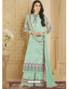Sky Blue Heavy Embroidered Faux Georgette Designer Palazzo Suit