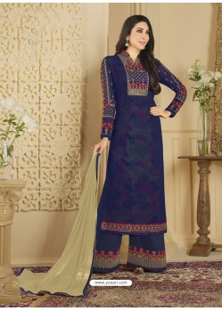 Navy Blue Heavy Embroidered Faux Georgette Designer Palazzo Suit