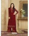 Maroon Heavy Embroidered Faux Georgette Designer Palazzo Suit