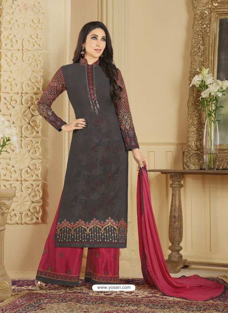 Dull Grey Heavy Embroidered Faux Georgette Designer Palazzo Suit