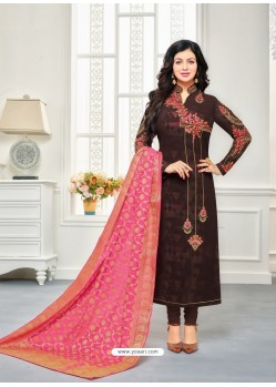 Coffee Faux Georgette Embroidered Designer Churidar Suit