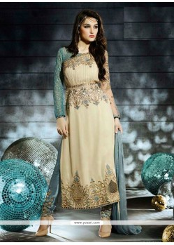 Fab Cream Embroidered Designer Churidar Suit