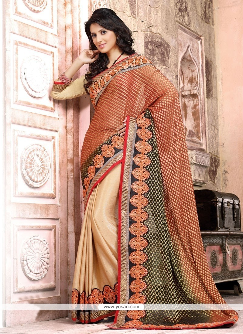 Deserving Cream And Red Resham Designer Saree