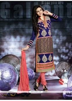 Splendid Blue Georgette Churidar Salwar Kameez