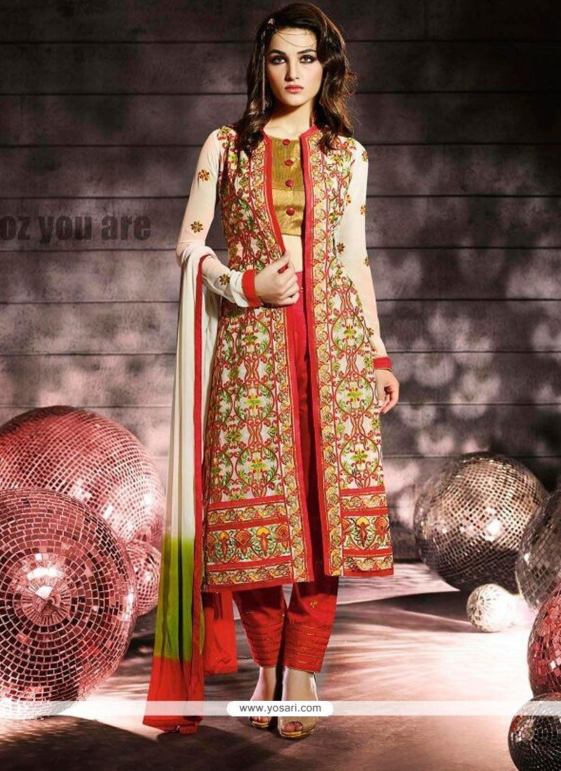 Graceful Red Jacket Style Designer Suit