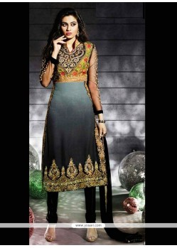Black And Grey Georgette Churidar Designer Suit