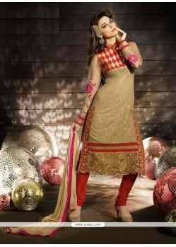 Stupendous Beige Georgette Churidar Salwar Suit