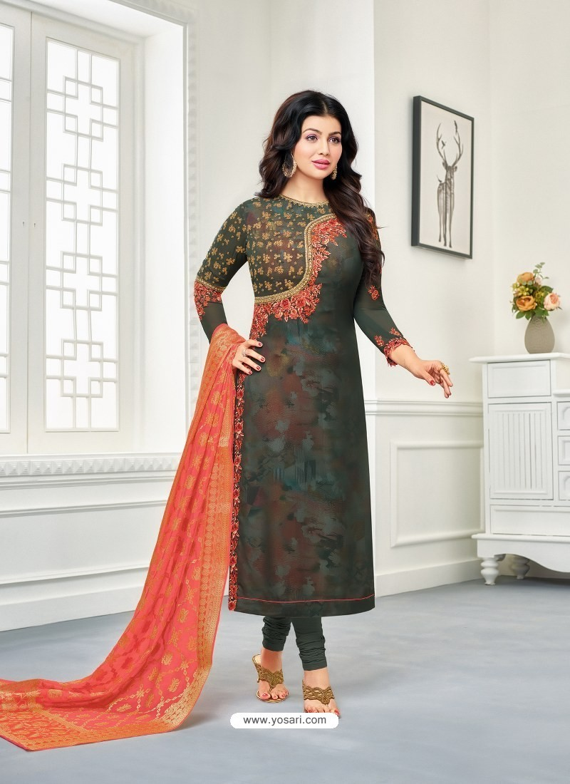 Multi Colour Faux Georgette Embroidered Designer Churidar Suit