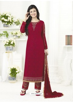 Maroon Embroidered Pure Georgette Designer Straight Suit