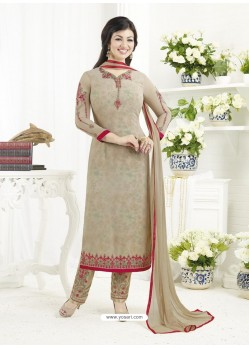 Light Brown Embroidered Pure Georgette Designer Straight Suit