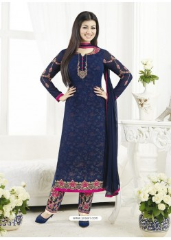 Navy Blue Embroidered Pure Georgette Designer Straight Suit