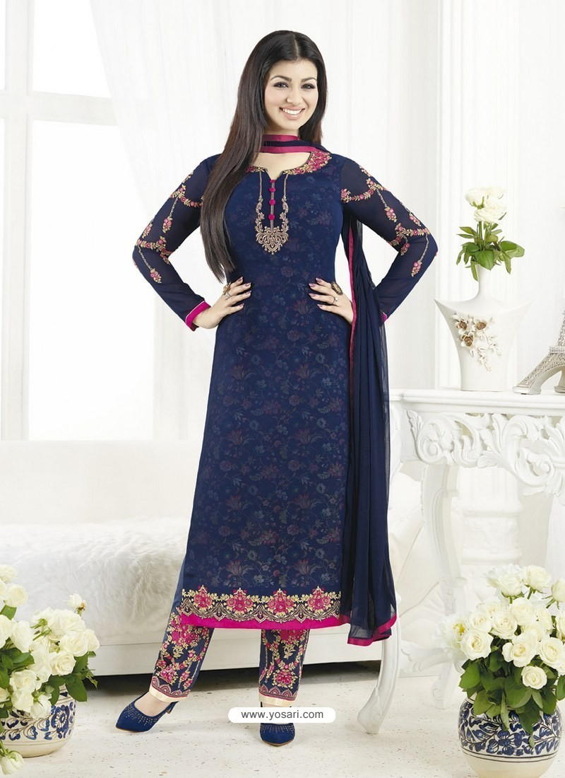 54e2b142ce2d Buy Navy Blue Embroidered Pure Georgette Designer Straight Suit ...