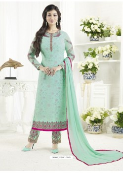 Sea Green Embroidered Pure Georgette Designer Straight Suit