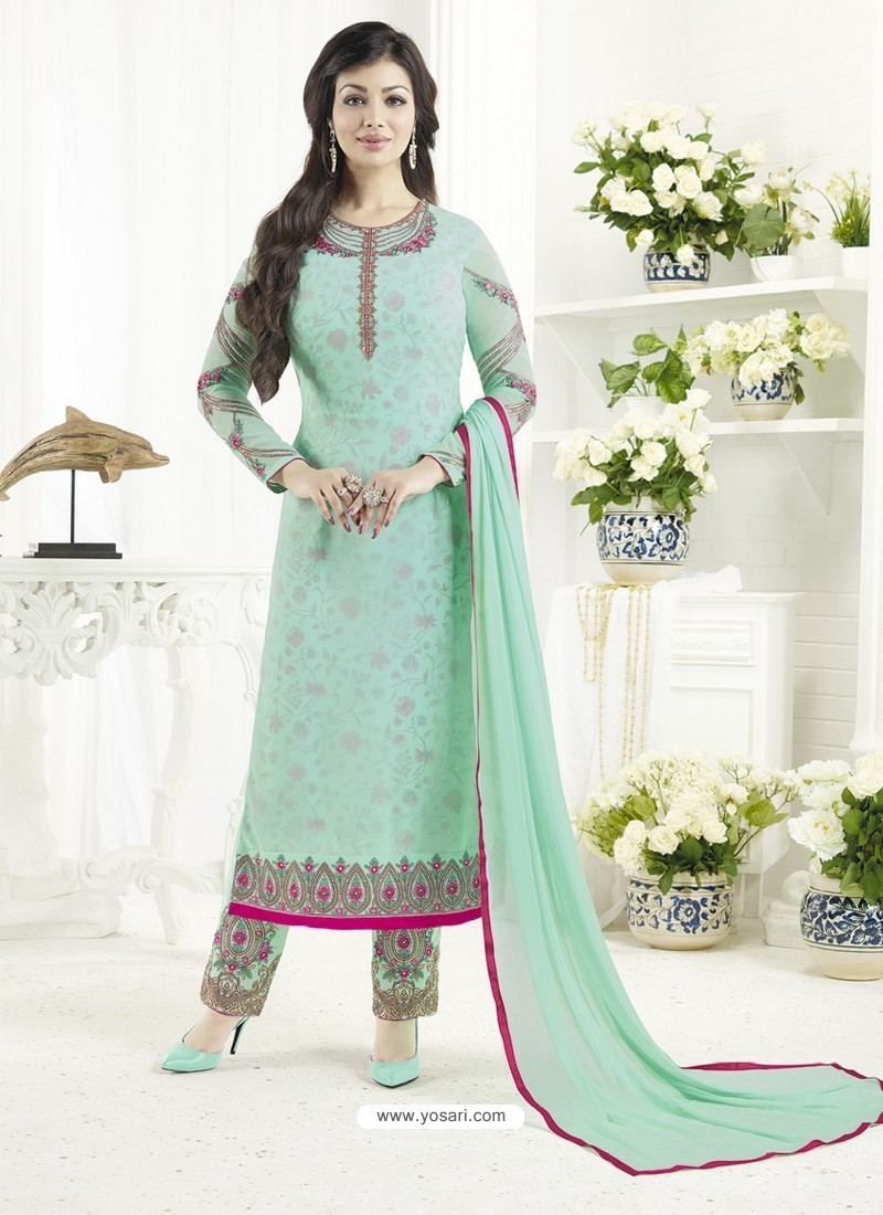 db918e5d83 Buy Sea Green Embroidered Pure Georgette Designer Straight Suit ...