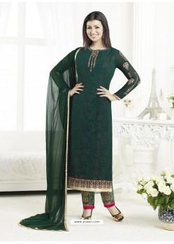 Dark Green Embroidered Pure Georgette Designer Straight Suit
