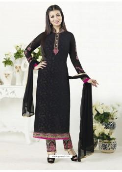 Black Embroidered Pure Georgette Designer Straight Suit