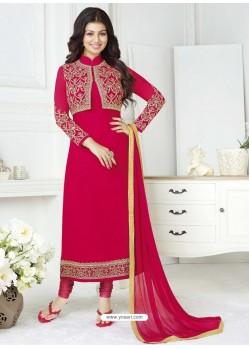 Crimson Pure Georgette Embroidered Designer Churidar Suit