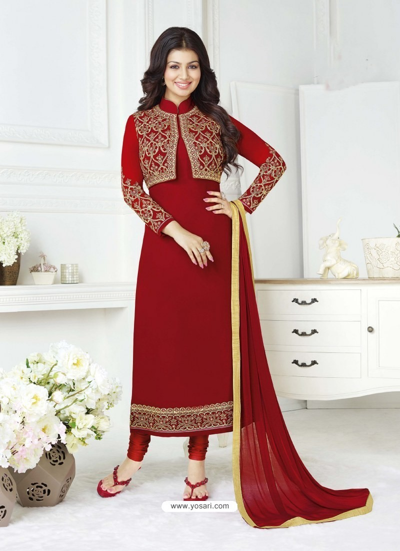 Red Pure Georgette Embroidered Designer Churidar Suit