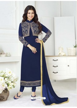 Navy Blue Pure Georgette Embroidered Designer Churidar Suit
