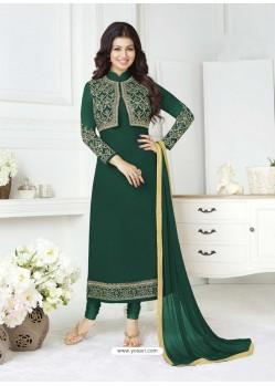 Dark Green Pure Georgette Embroidered Designer Churidar Suit