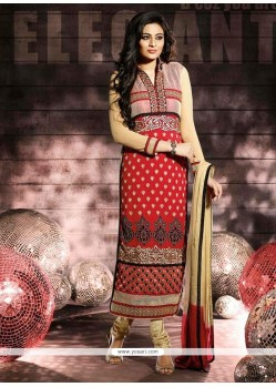 Stunning Red Color Churidar Salwar Suit