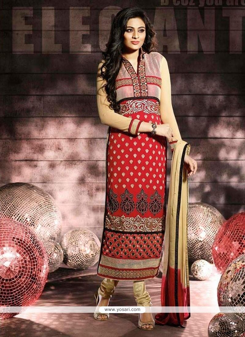Stunning Red Color Churidar Salwar Suit