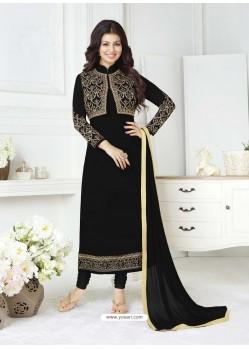 Black Pure Georgette Embroidered Designer Churidar Suit