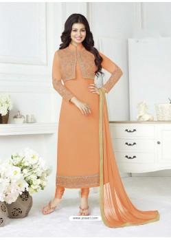 Orange Pure Georgette Embroidered Designer Churidar Suit