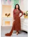 Brown Faux Georgette Embroidered Designer Churidar Suit